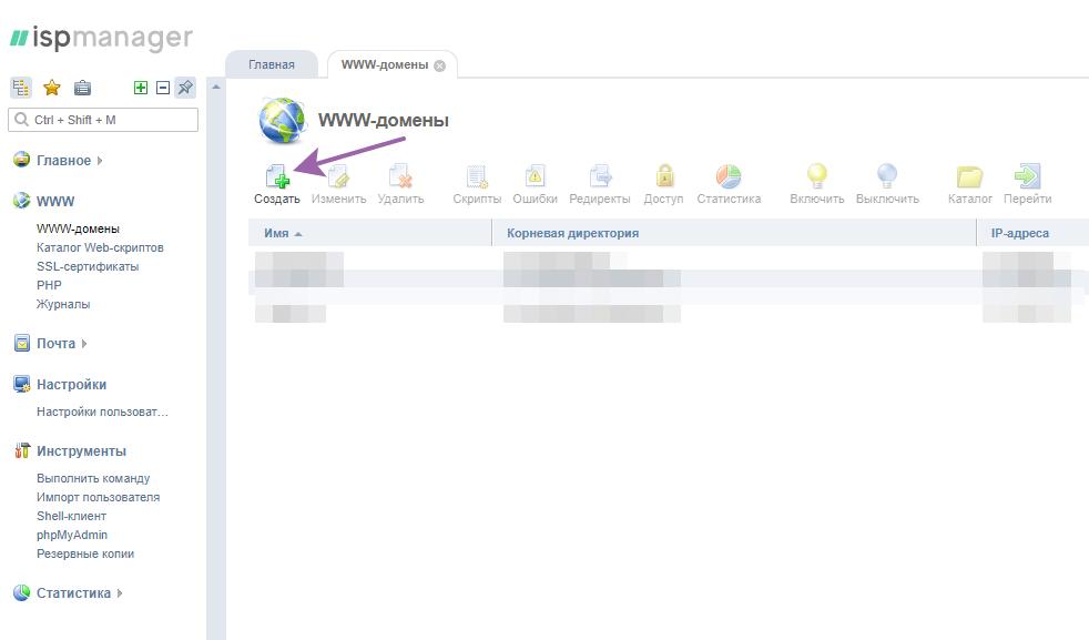 создаём www-домен