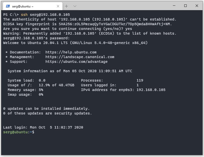Подключение по SSH в PowerShell